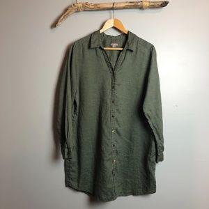 J Jill Army Green Button Up Linen Tunic Shirtdress